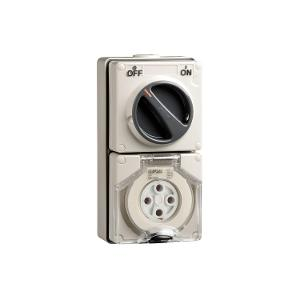 OUTLET SWITCHED IP66 4PIN 32A 500V GREY