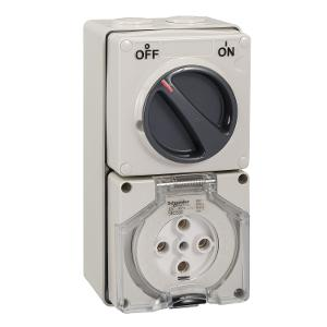 OUTLET SWITCHED IP66 5PIN 32A 500V GREY