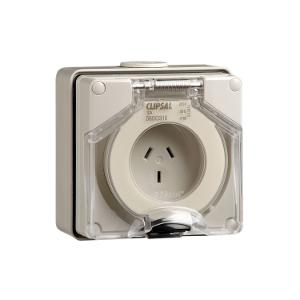 OUTLET SOCKET IP66 3PIN 10A 250V GREY