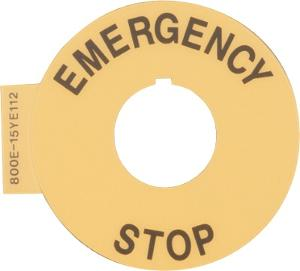"LEGEND PLATE ""EMERGENCY STOP"" 60MM RING"