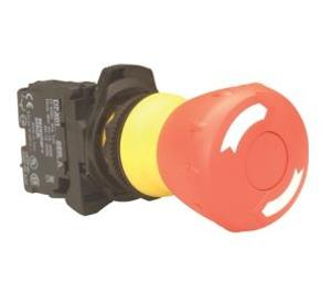 PUSHBUTTON 22.5MM PLASTIC E-STOP 40MM 1N