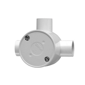 JUNCTION BOX ROUND DEEP 3WAY 25MM GRY