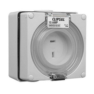 OUTLET SOCKET IP66 2PIN 15A 32V GREY